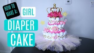 Diaper Cake For Baby Girl (Very Simple Instructions!!!)