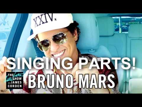 Bruno Mars Carpool Karaoke 'ALL SINGING PARTS!' (songs/Singing) - The late late show