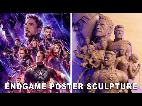Time lapse: Professional sculptor recreates the Avengers: Endgame poster. (Hard rock music playing)