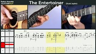 The Entertainer - (Scott Joplin) - Chet Atkins - Guitar Tutorial Slow Played Tabs & Score