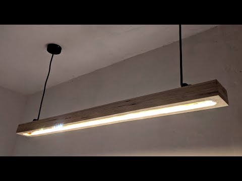 Stylische Küchenlampe mit LED Streifen und Holzbalken selber bauen
