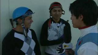 3 top jockeys rehearse  for a new spanish version of Sport of Kings tv