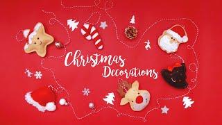 DIY FELT CHRISTMAS DECORATIONS CLOTH ORNAMENTS ROOM DECOR TUTORIAL 🎅 CRAFT HOMEMADE VLOGMAS 2019