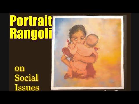 portrait rangoli design for raksha bandhan by manisha