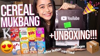 CEREAL MUKBANG + UNBOXING SILVER BUTTON & PACKAGES