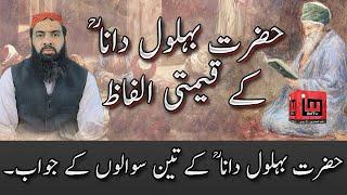 Hazrat Behlol Dana kay kimti alfaz   Allama hafeez ullah Farooqi   IM Tv