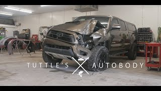 Toyota Tacoma  vs Telephone pole | Rebuild by Tuttles Autobody | 4k