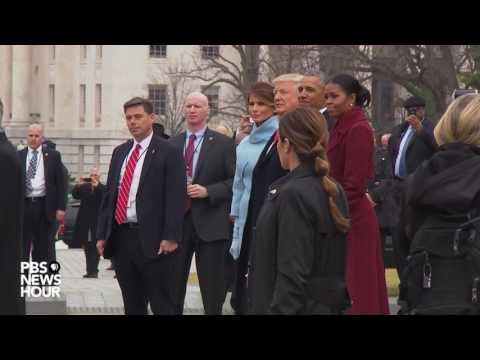 The Obamas and Bidens depart U.S. Capitol