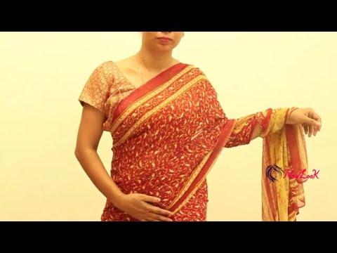 How to wear Printed Flowers  Silk saree - 2019