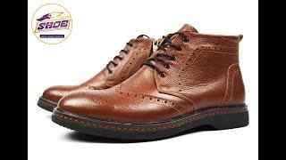 efa29084764950 Кирпичные зимние мужские кожаные ботинки-броги WRIGHT на меху ( шерсть )