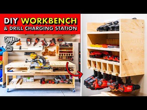 GARAGE SHOP STORAGE! 🛠 DIY 2x4 Workbench Base & Drill Charging Station