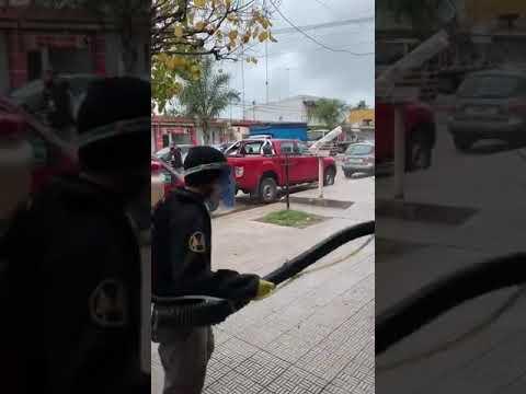 Amplio operativo de desinfección en Olmos por un comerciante con coronavirus
