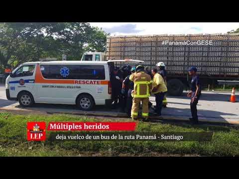 Múltiples heridos deja vuelco de un bus de la ruta Panamá - Santiago