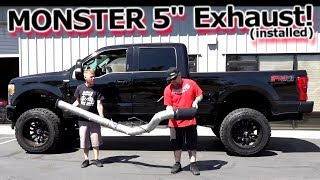 """MONSTER 5"""" Exhaust Installed - Banks Power DPF Back 2017 Ford F250 Superduty"""