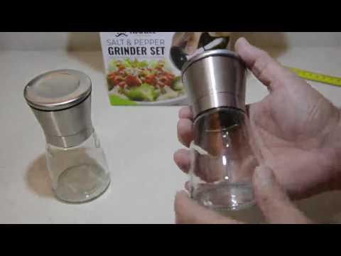 Juego de molinillos de pimienta y sal de acero inoxidable elegante Opinione, Buen Molinillo, estetic