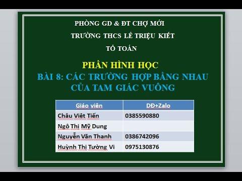 HinhHoc7 CacTruongHopBangNhauCuaTamGiacVuong