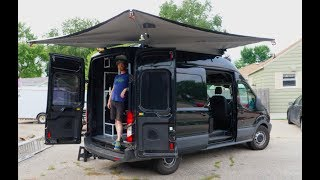 Alu-Cab Shadow Awning on a Ford Transit video van. Vlog #11