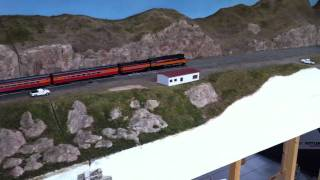 preview picture of video 'BNSF Horsethief Bridge N Scale model railroad'