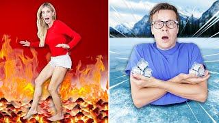 World's Largest Board Game Hot Vs Cold Challenge - Matt and Rebecca Zamolo