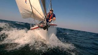 "Sailing ""Thanks Dad"" - Fun Lake Michigan sail with 15+ knots of wind and 2-4 ft waves"