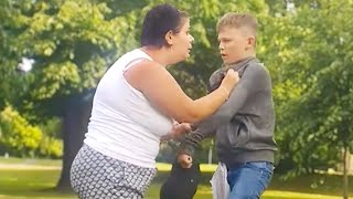 Angry lady tries to fight kid, then.. (GONE WRONG)