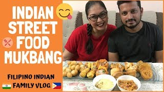 INDIAN STREET FOOD MUKBANG with Q & A | Filipino Indian Family Vlog # 84