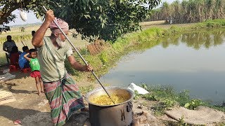 Chicken Meat Hodgepodge Cooking | Bhuna Khichuri | Charity Food For Another Village Kids & Villagers