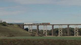 preview picture of video 'Railways in Australia; The Overland crossing Moorabool Viaduct'