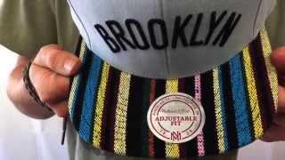 Nets 'NATIVE-STRIPE SNAPBACK' Grey Hat by Mitchell & Ness