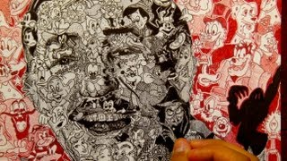 Drawing Walt Disney With Over 100 Disney Characters