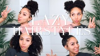 Lazy Hairstyles for CURLY HAIR | Quick, Easy, On-The-Go