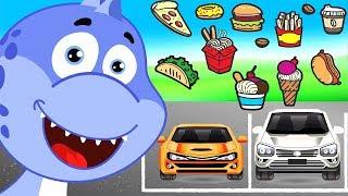 Мультики про динозавра и машинки. Машинки для детей. ВСЕ СЕРИИ ПОДРЯД. Развивающее видео