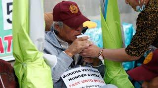 video: Gurkha hunger strike leaves veterans too weak to speak