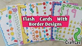 Number Flash Cards With Beautiful Border Making Ideas Summer Holidays Homework   CraftLas #FlashCard