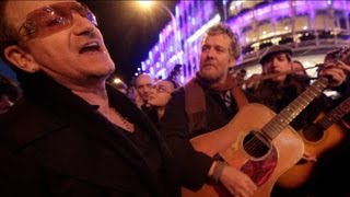 The Greatest Busk on Grafton Street :: Bono and Glen Hansard busking with friends
