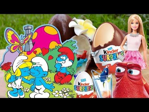 Rozbalování Kinder Surprise/Šmoulové, Hledá se Dory a Barbie