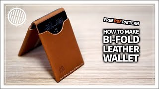 [Leather Craft] Making A Bi-fold Leather Wallet / Free PDF Pattern