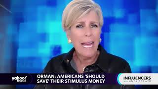 Stimulus checks: Americans should save their stimulus money: Suze Orman