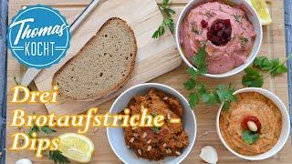 3 schnelle vegane Dips zum Grillen / Brotaufstriche / Thomas kocht