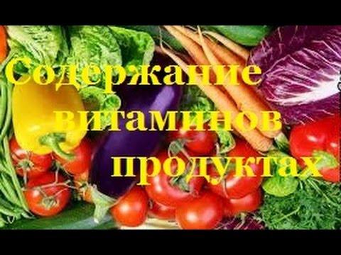Содержание витаминов продуктах