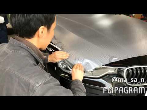 BMW ボンネットをカーボンシルバーでカーラッピング!
