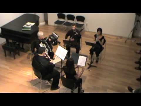 "Robert Young McMahan's ""Three Toss-offs, for flute, oboe, clarinet, bassoon, & accordion,"" 2010"