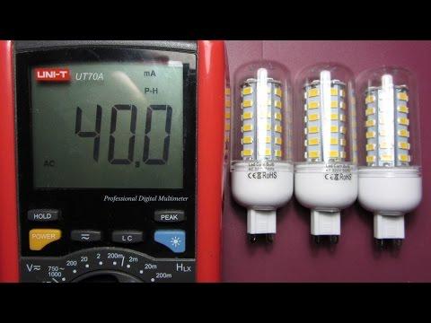 Обзор 3х LED ламп 15Вт 220В под патрон G9 с Али + проверяем мощность (Energy-saving G9 LED Lamp 15W)