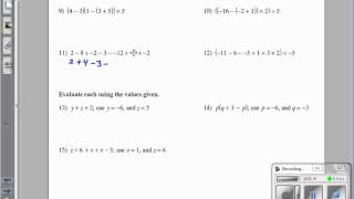 Review of Algebraic and Numerical Expressions Kuta Software Infinite  Algebra 2 GHCHS