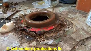 Leaking Cast Iron Toilet Flange Replaced Part 1 Of 2