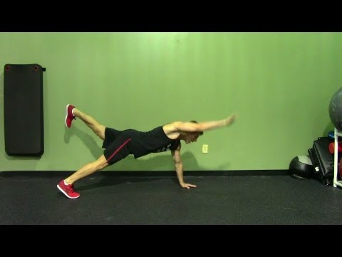 Push Up + Opposite Arm and Leg Raise - HASfit Push Up Exercise Demonstration - Pushup for Core