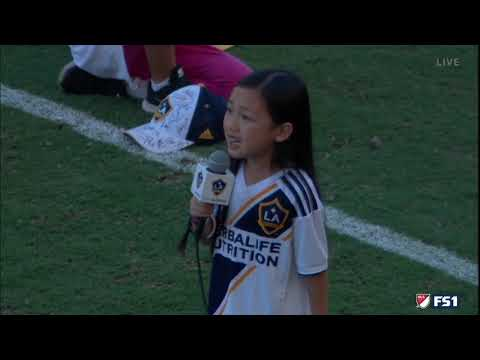 This little girl absolutely crushes the national anthem at an MLS soccer match last night.