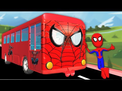 Wheels On The Bus Go Round And Round With Spiderman | Nursery Rhymes For Children Songs