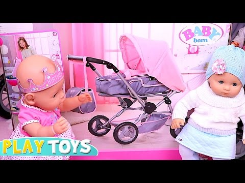 Baby Born Stroller!  🎀 Playing Baby Dolls and Push Chair Toy!