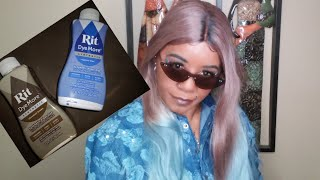 Dying A SYNTHETIC WIG Chocolate Brown + Blue With/ RIT DYEMORE!!!!